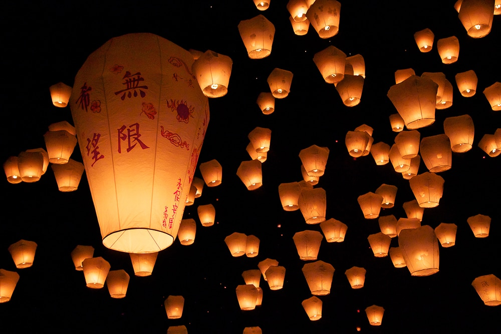 Pingxi Sky Lantern Festival, which happens in winter in Taiwan