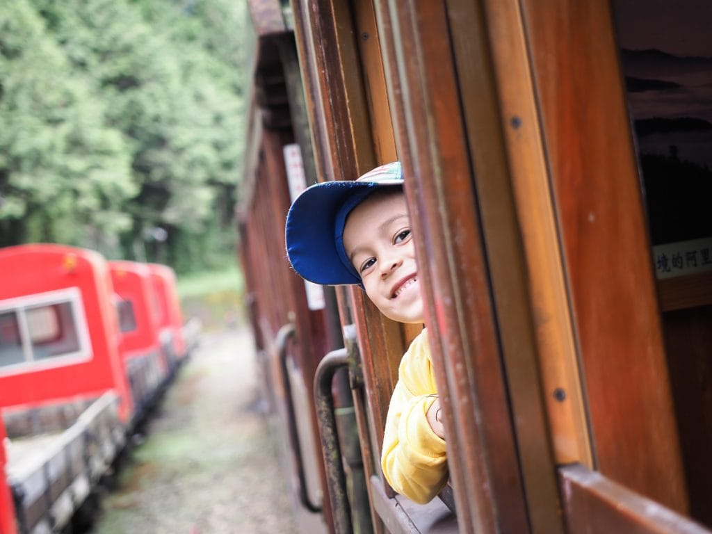 My son riding the Alishan Forest Railway from Alishan to Zhaoping (Chaoping) Station. See here for the Alishan Forest Railway times (Alishan train times)
