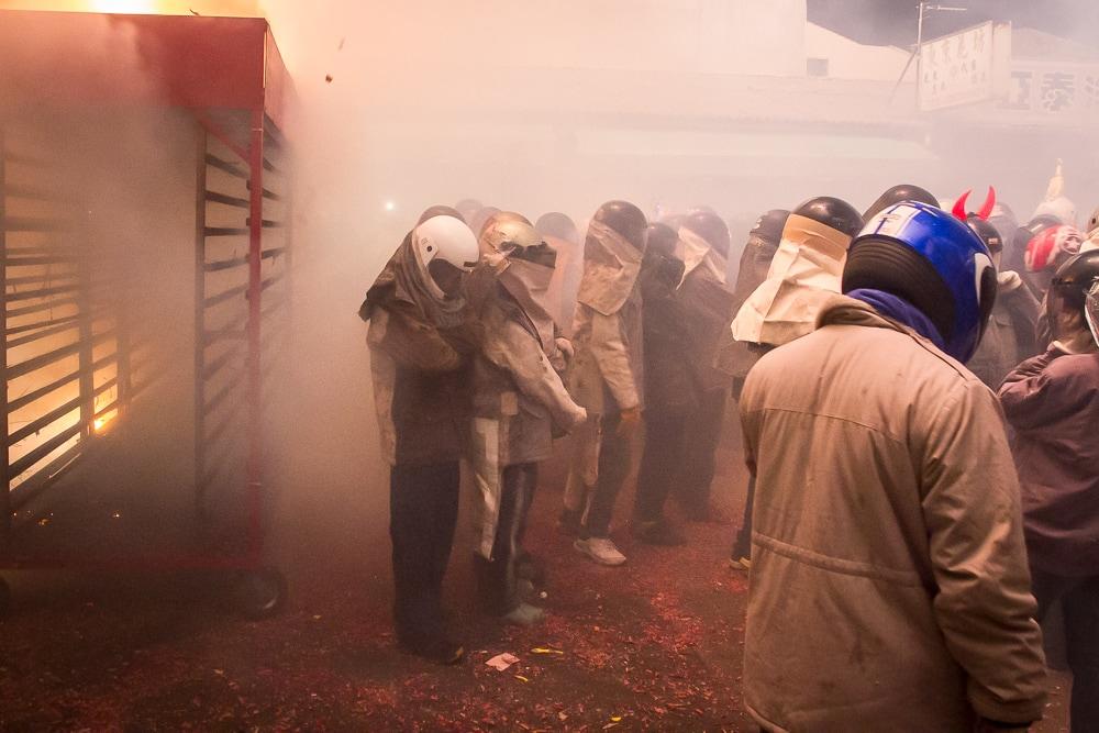 Smokey scene at Yanshui Fireworks Festival