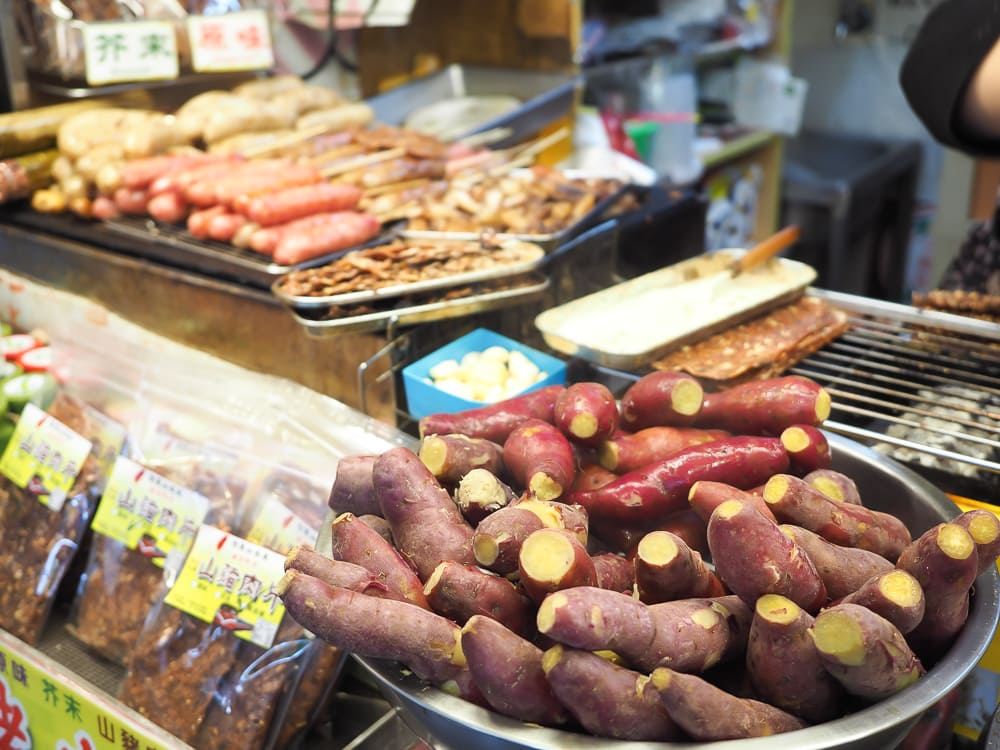 Steamed yams and other treats in Alishan, Taiwan