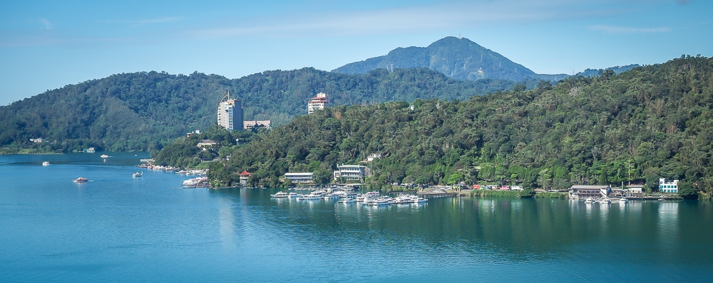 Distant view of Shuishe, the main village on Sun Moon Lake