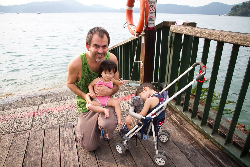 Our kids on the shore of Sun Moon Lake, Nantou, Taiwan