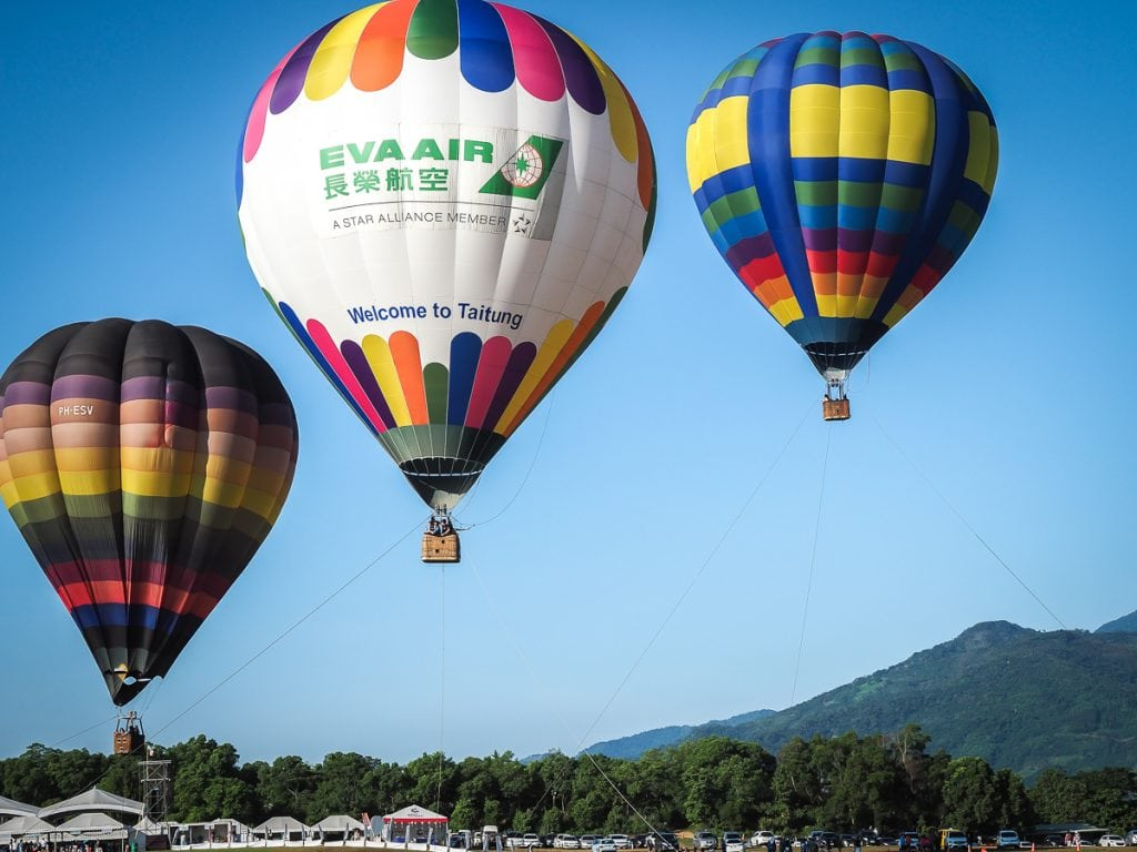 Tethered balloons at the Taiwan International Balloon Festival in Luye, Taitung