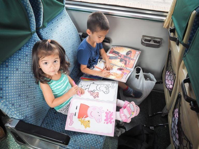 My kids riding a train in Taiwan