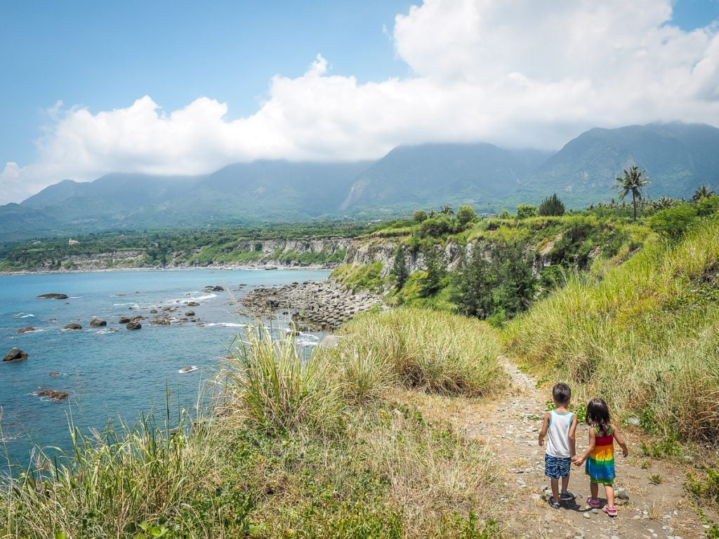 The gorgeous east coast of taiwan with my kids Sage and Lavender