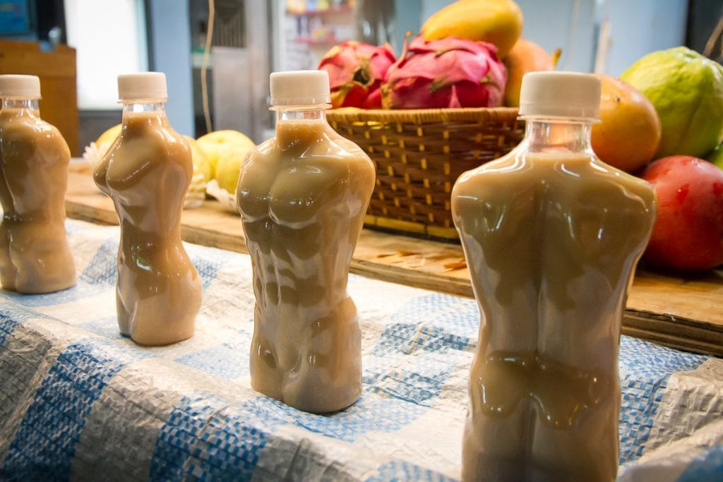 Sexy milk tea bottles, Raohe Night Market