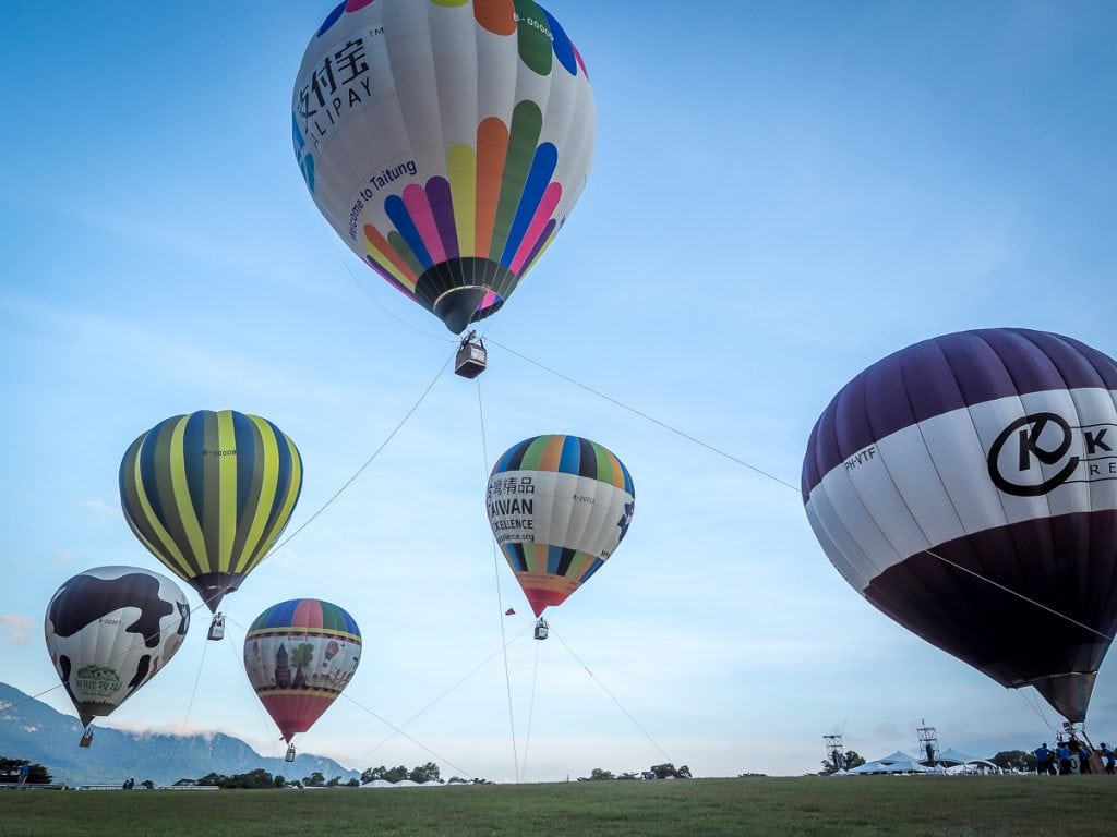 Taitung Hot Air Balloon Festival in Luye, Taitung in summer