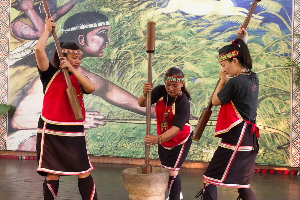 Aboriginal pestle dance performed by Thao people at the Thao Tribe Performance Center in Ita Thao