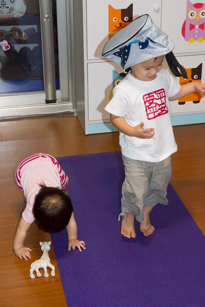 my kids getting distracted while we do yoga