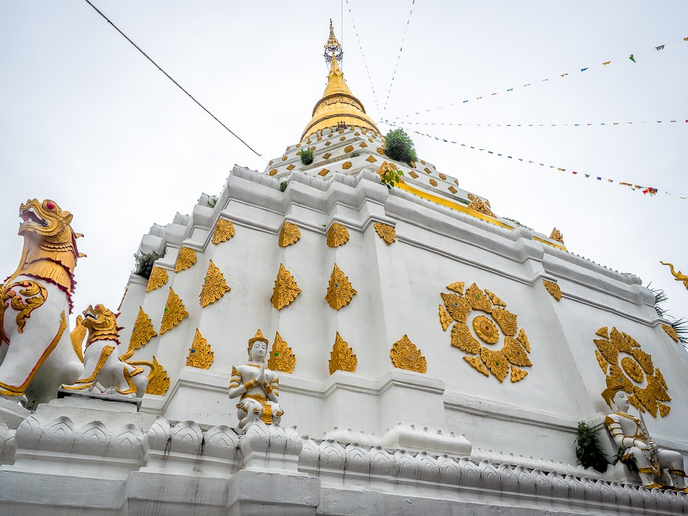 White chedi at Wat Chiang Yuen, a Burmese temple just outside the Chiang Mai Old City wall