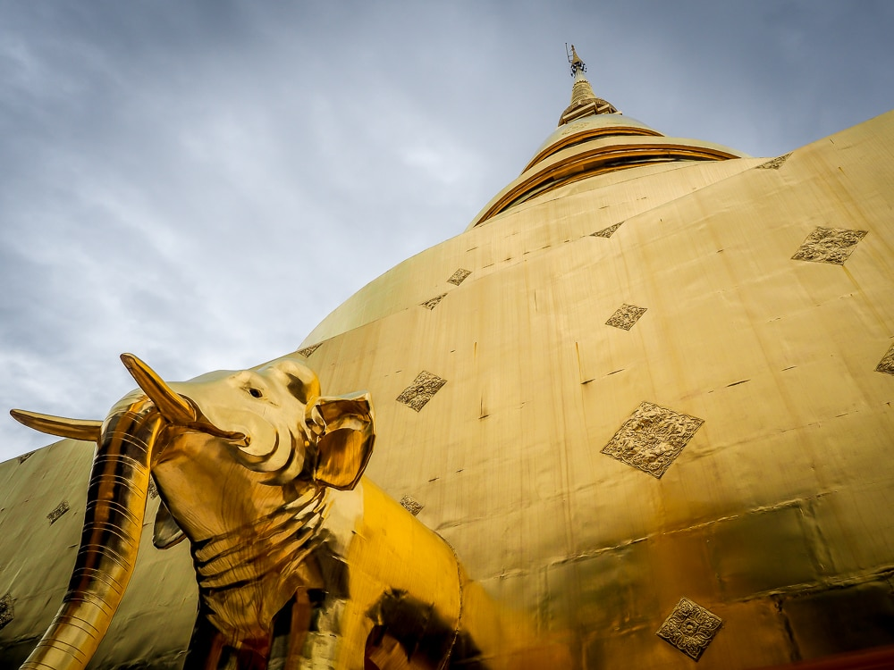 Golden chedi and elephant at Wat Pra Singh, the most popular temple in Chiang Mai