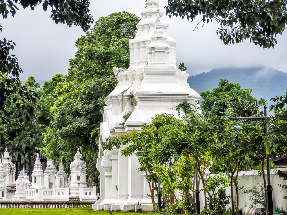 Beautiful white gate at Wat Suan Dok, Chiang Mai