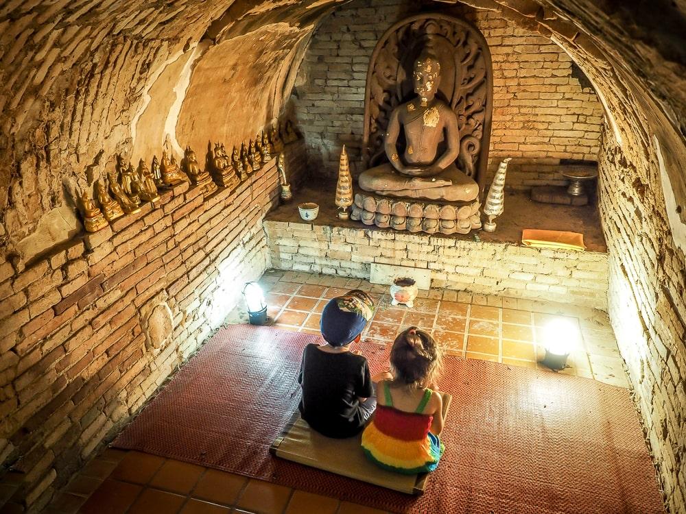 Sage and Lavender in cave prayer room at Wat U Mong