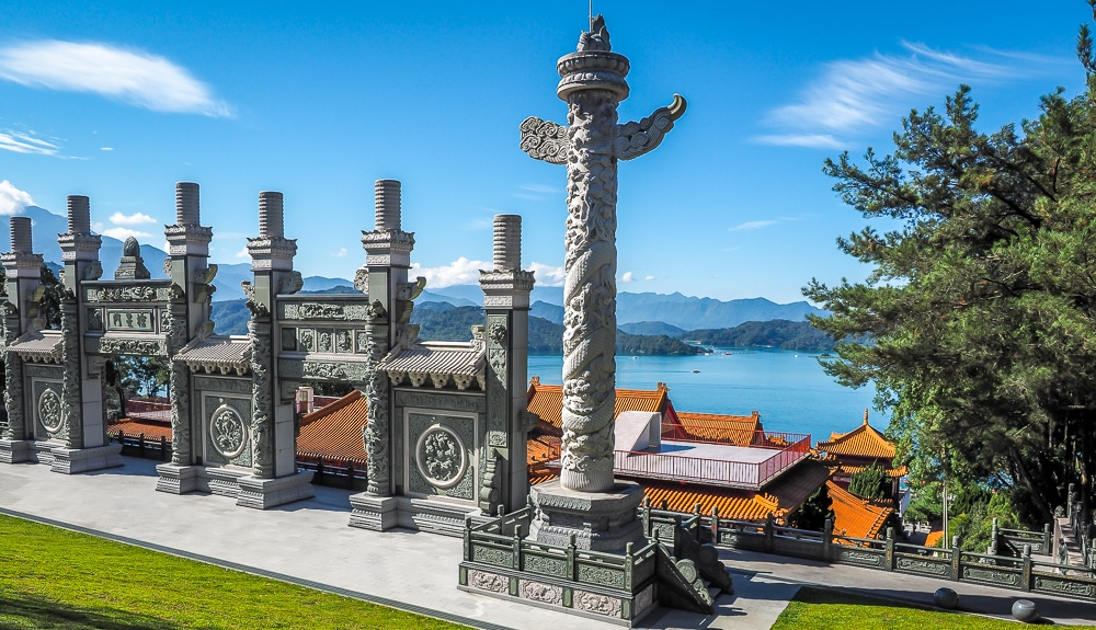 Iconic view of Sun Moon Lake from behind Wenwu Temple