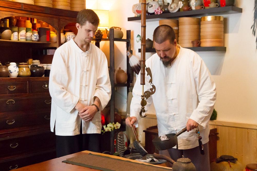 """Preparing coals at Global Tea Hut's """"Tea Sage Hut"""" in Miaoli, Taiwan"""