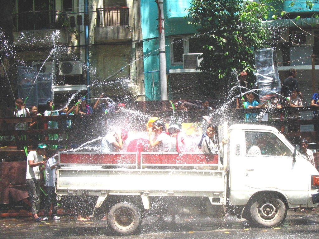 Songkran (Southeast Asian New Year's) is celebrated with a big waterfight on the street in Burma