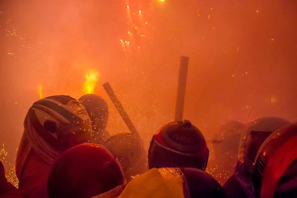 Getting hit by fireworks at the Yanshui Beehive Fireworks Festival