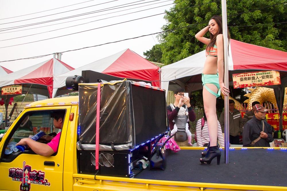 Dancing sexy girl on truck, Yanshui parade