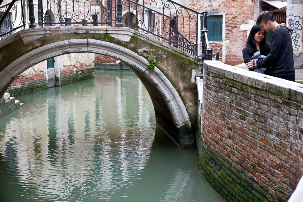 Small bridge and canal in Venice