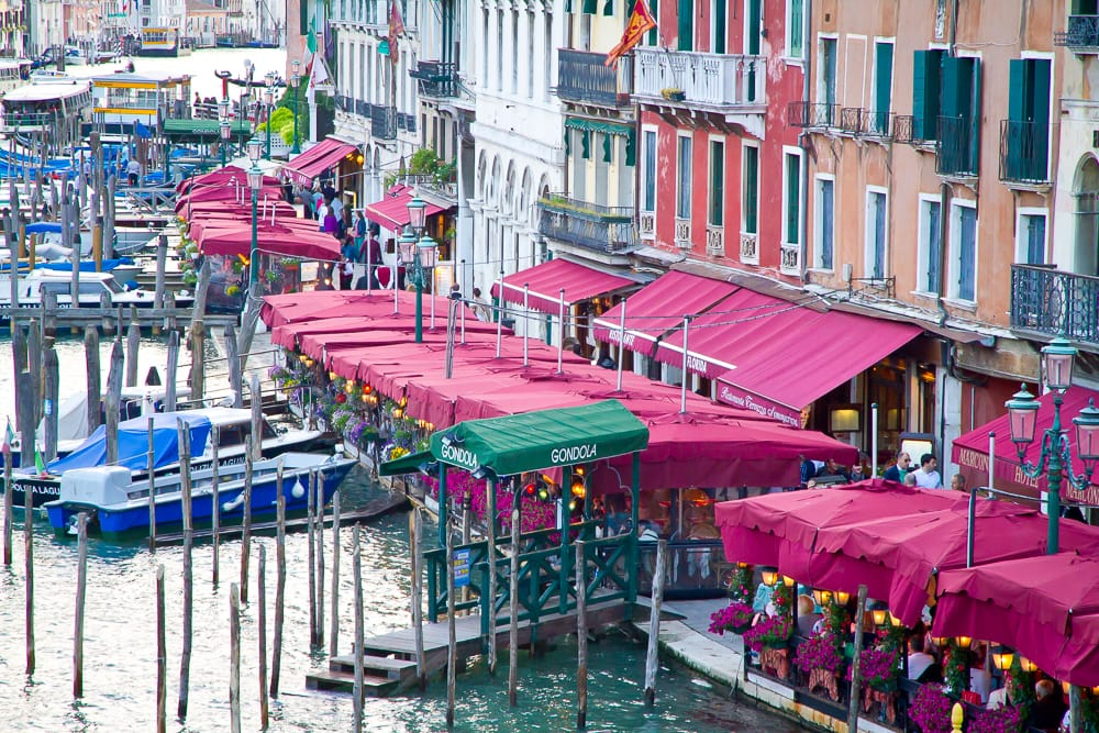 Restaurants along Grand Canal in Venice