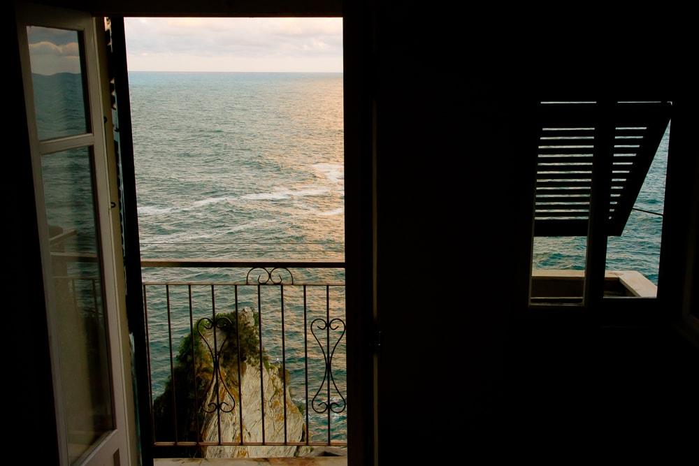 Sunset from room at Vandiris Hotel, Manarola