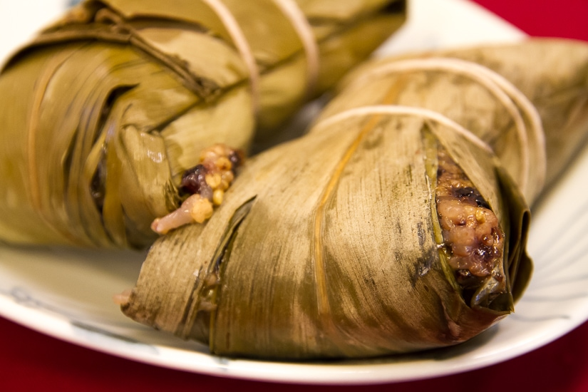 Taiwanese aboriginal steamed rice in banana leaves