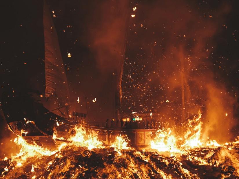 Boat burning at Donggang, Pingtung, Taiwan