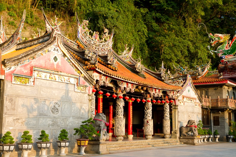 Quanhua Temple just before sunset, Lion's Head Mountain