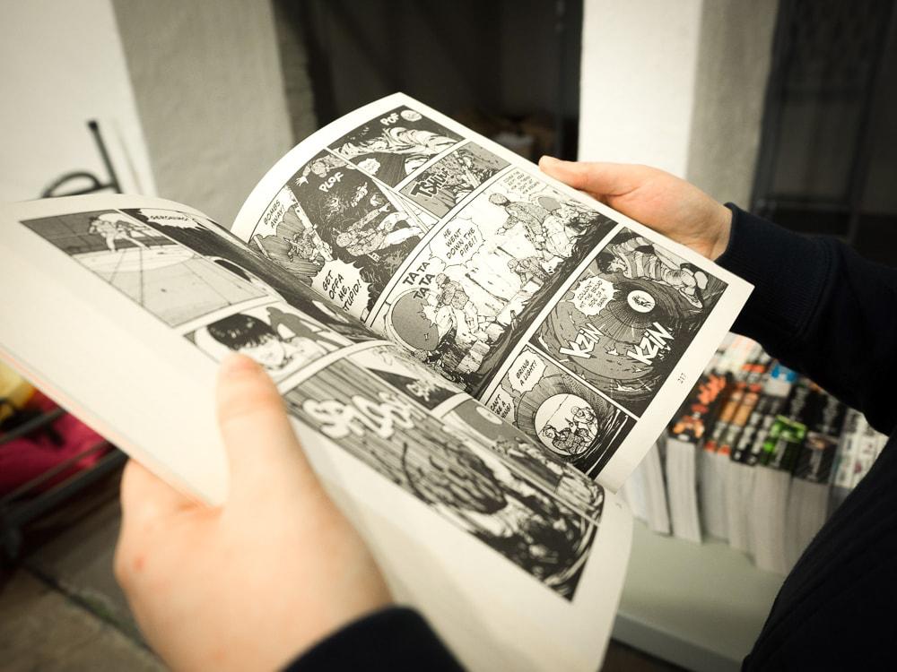 Reading manga at Mandarake Complex, Akihabara