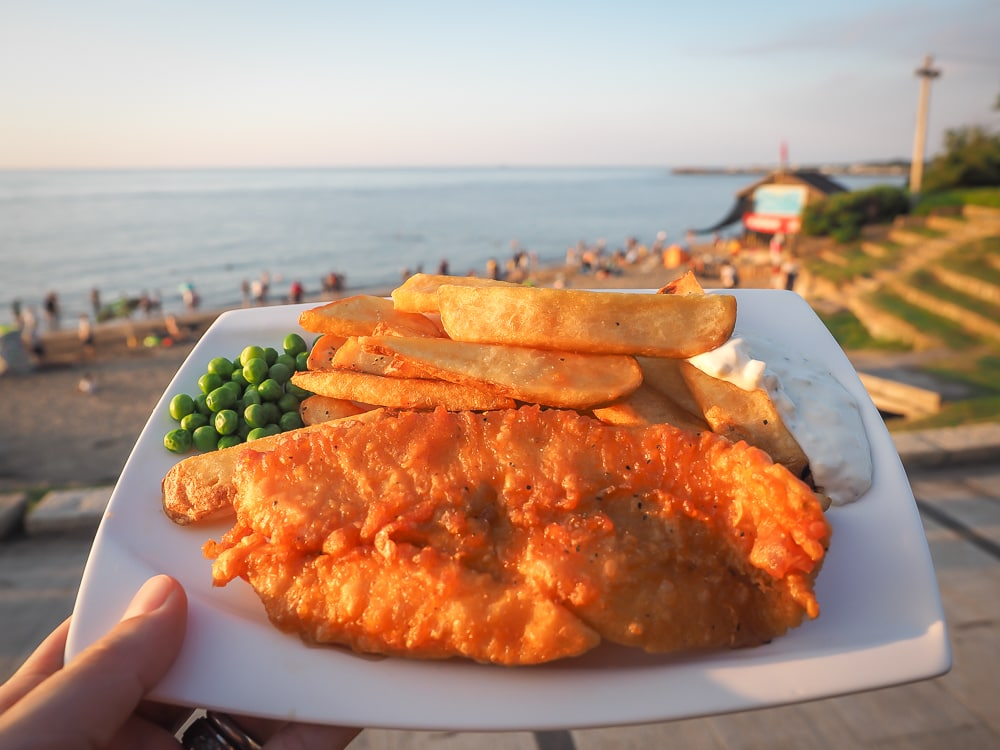 Fish and chips from Dazzler's on Qianshuiwan beach, Taiwan