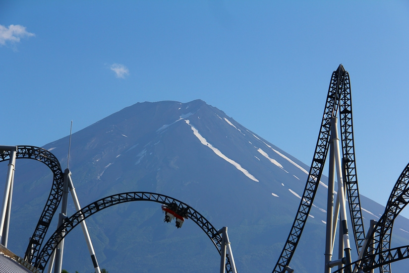 Roller coaster at Fuji Q Highland, one of the best places to see Mt Fuji