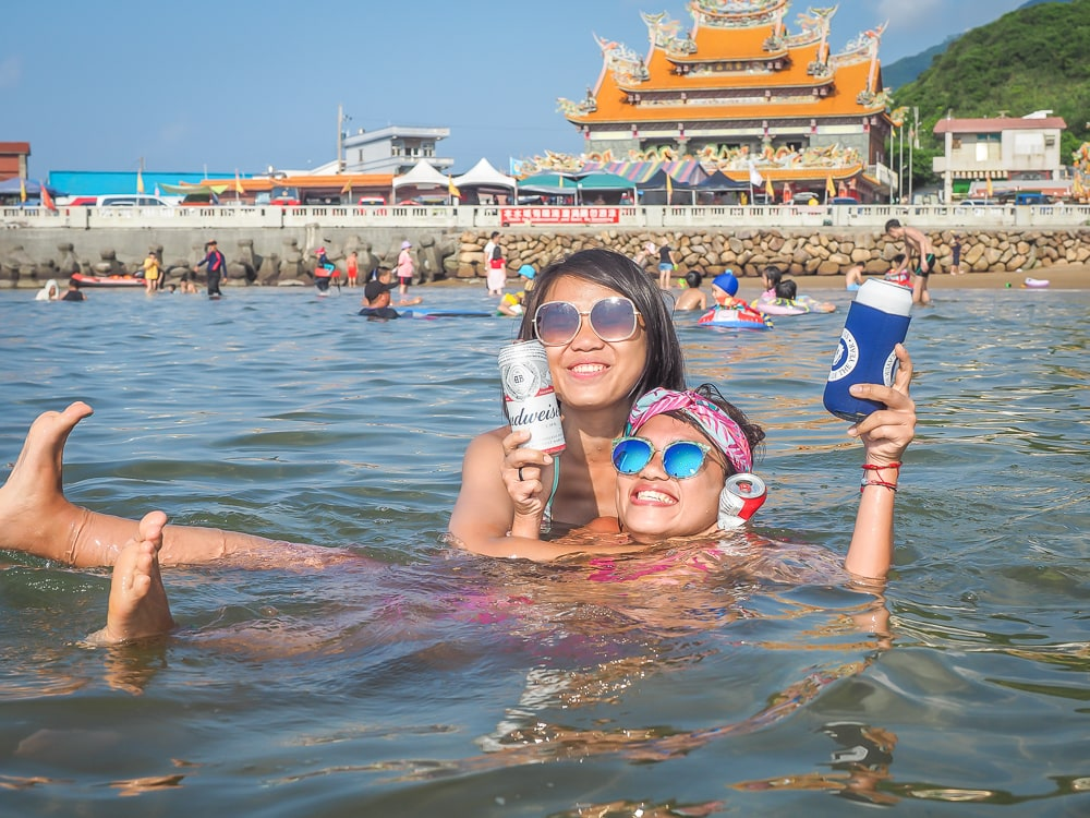 My friends on Fulong Beach Taiwan in summer