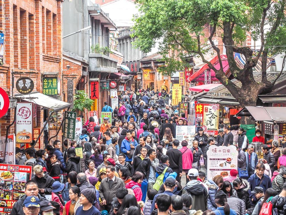 Stinky tofu at Shenkeng Old Street, Taipei