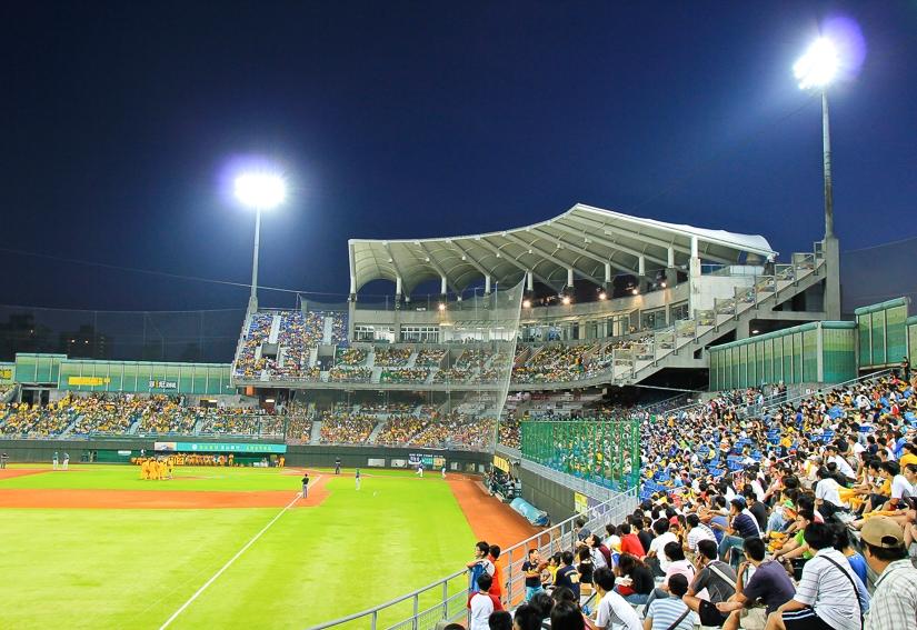 Baseball game at Tianmu Stadium in Taipei