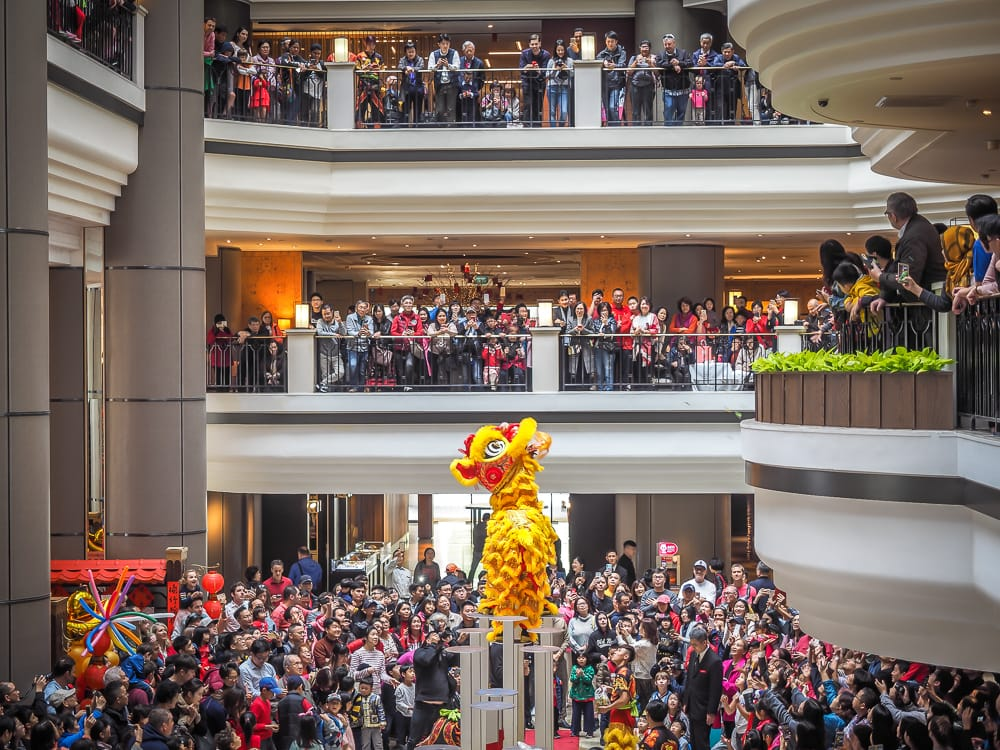 Lion and dragon dance at Grand Hyatt Taipei