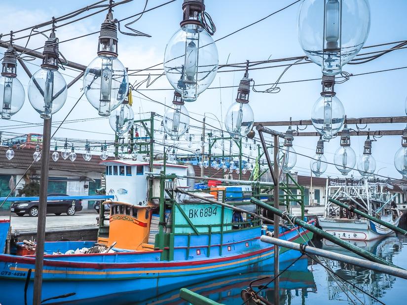 Squid fishing boats at Waimushan Harbor, near Duwulun Beach, Keelung