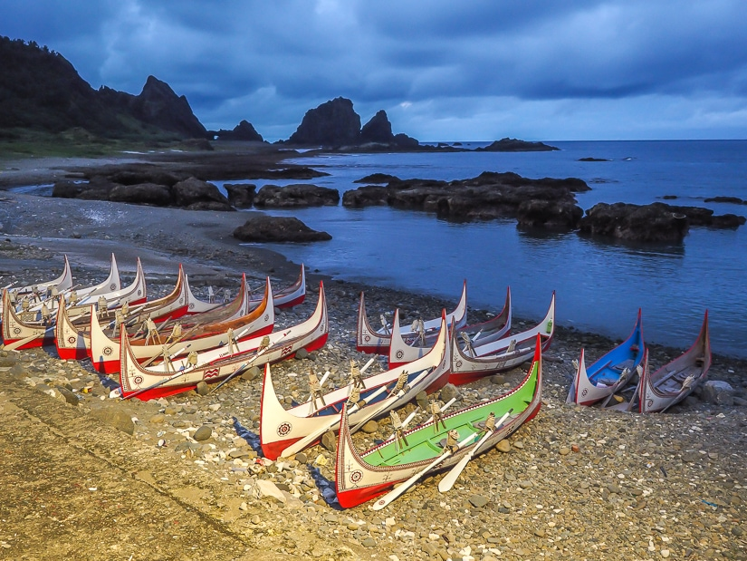 Tao canoes at Dongqing Village, Orchid Island
