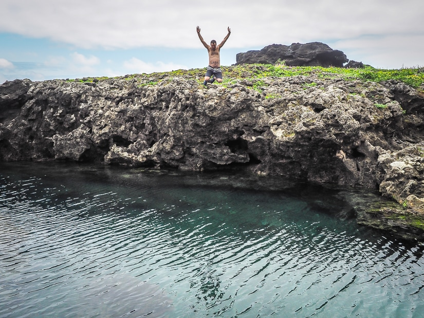 Roasted Goose Rock, one of the best places to go swimming on Orchid Island