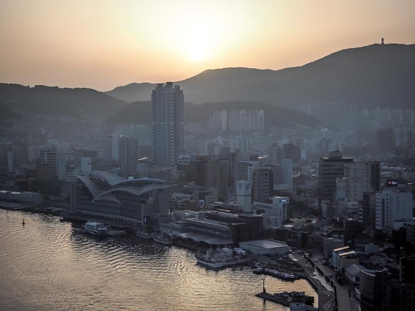 Sunset over Jagalchi Market and Busan