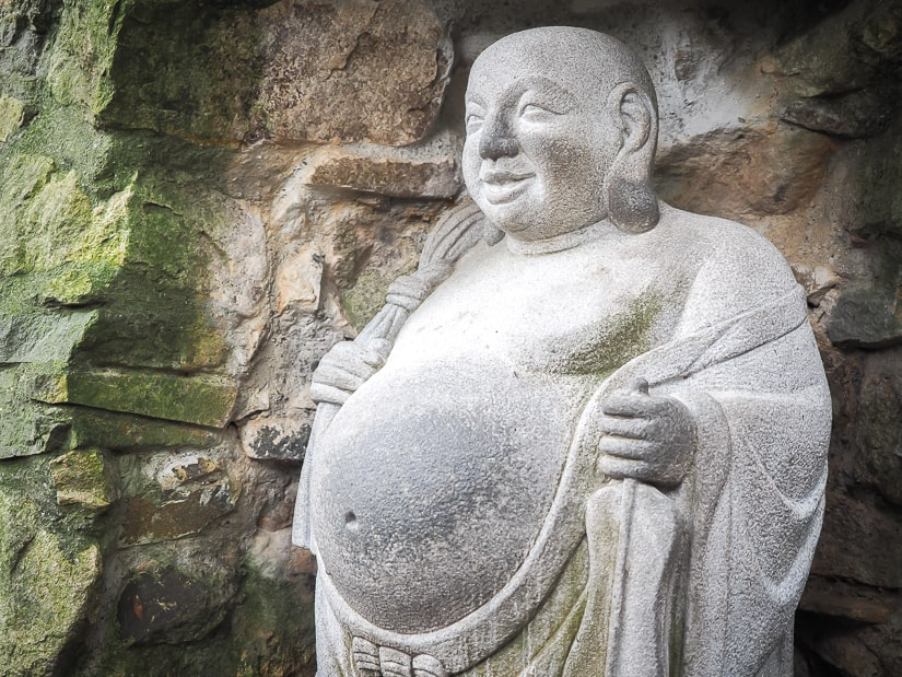 Fat Buddha with belly sticking out