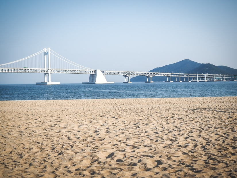Gwangalli beach with Gwangan Bridge in the background