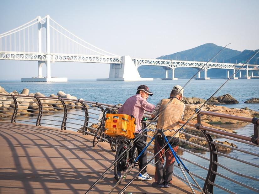 Fishermen at Gwangalli Beach, Gwangan, Busan