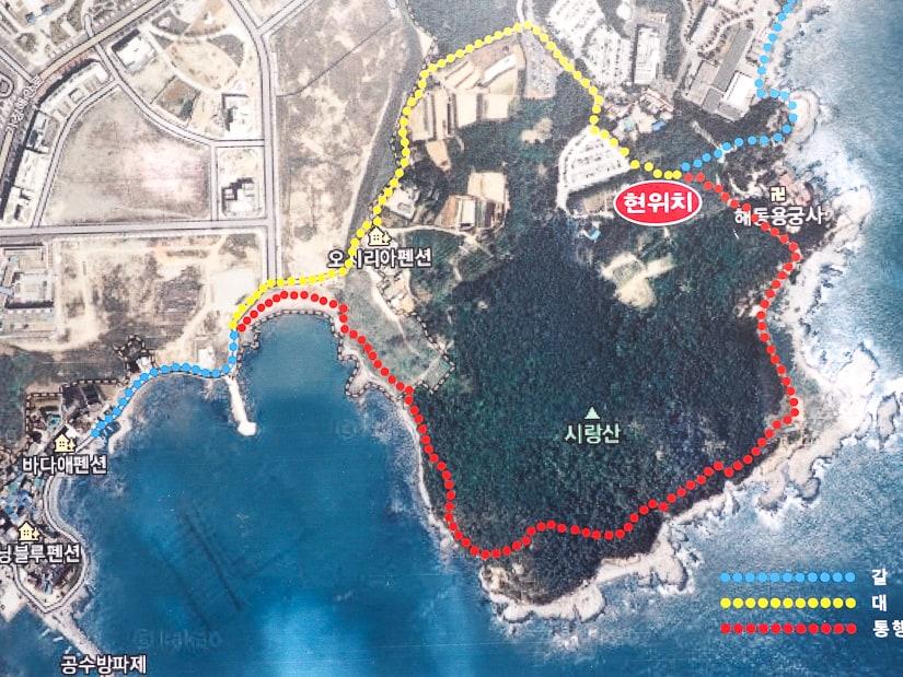 Map of hiking trails around Haedong Yonggungsa