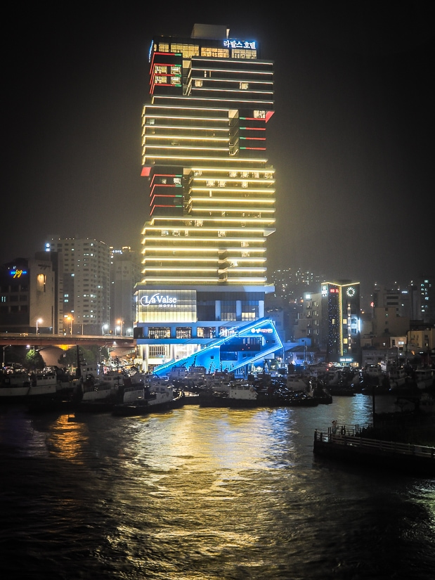 La Valse Hotel on the busan harbor at night