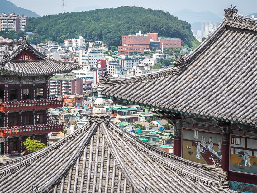 View of Samgwangsa Temple with Busan in background