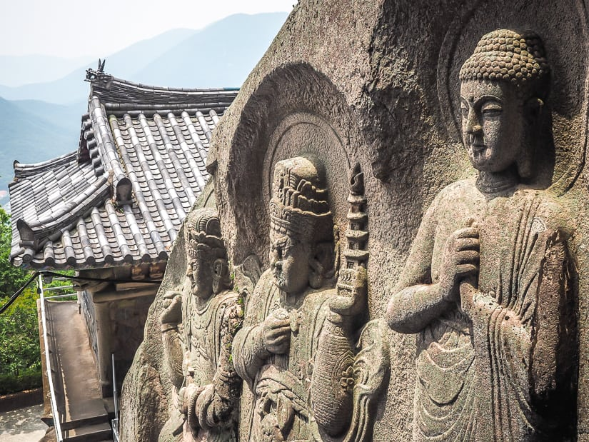 Seokbulsa temple carvings on the cliff walls