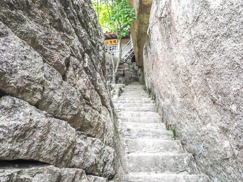 Staircase in the cliffs at Seokbulsa