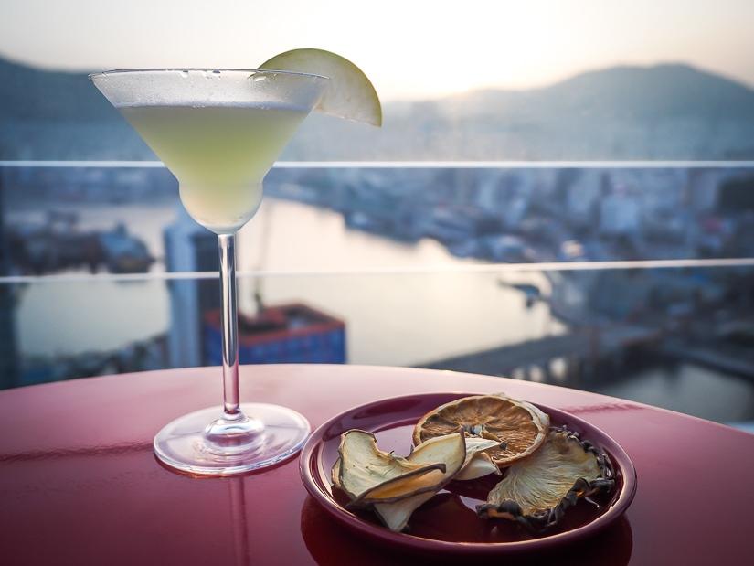 Apple martini on outdoor patio of La Valse Hotel bar