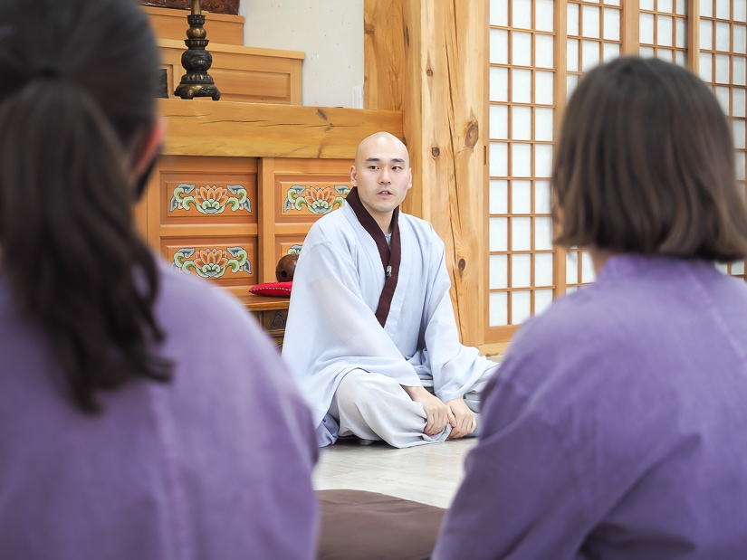 Welcome talk by a monk at Beomeosa Temple