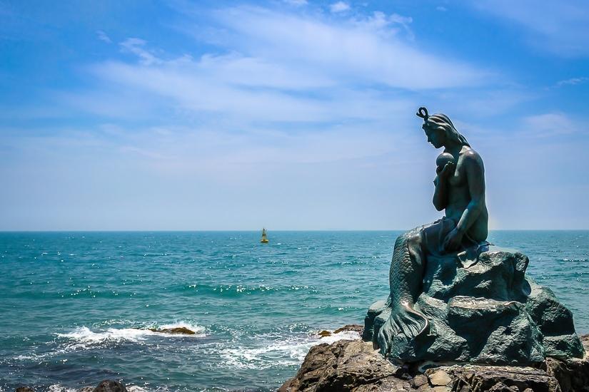 Mermaid statue on Dongbaekseom Island, Haeundae, Busan